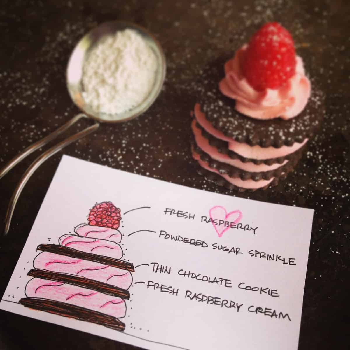 Chocolate and Fresh Raspberry Cream Napoleons - afarmgirlsdabbles.com #raspberrydessert #raspberry #chocolate #dessert #joy