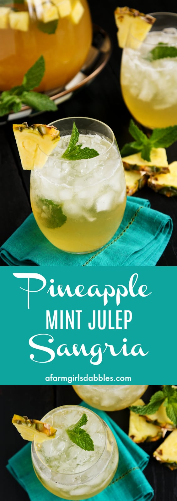 Pineapple Mint Julep Sangria from afarmgirlsdabbles.com - A fun twist on the traditional mint julep beverage served at the Kentucky Derbyeach spring, and perfectly refreshing all summer long - pineapple juice, fresh mint, crisp white wine, and a splash of Bourbon make a refreshing cocktail!