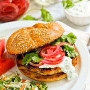 Grilled Honey Sriracha Chicken Burgers with Cilantro Cream and P
