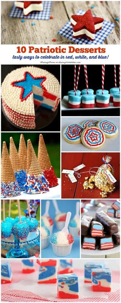 collage of 10 Patriotic Desserts