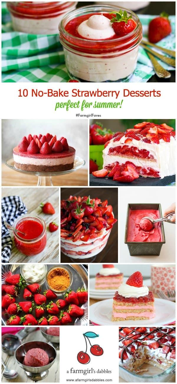 10 No-Bake Strawberry Desserts - afarmgirlsdabbles.com #strawberry #nobake #dessert #summer #FarmgirlFaves