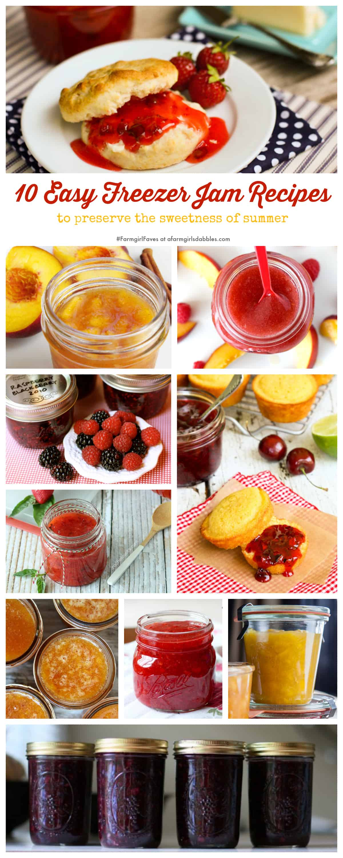 10 Easy Freezer Jam Recipes - afarmgirlsdabbles.com #FarmgirlFaves #jam #freezerjam #quick #easy #preservation