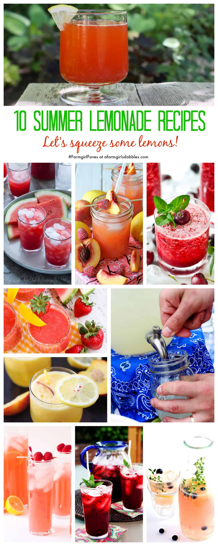 10 Summer Lemonade Recipes - afarmgirlsdabbles.com #farmgirlfaves #lemonade