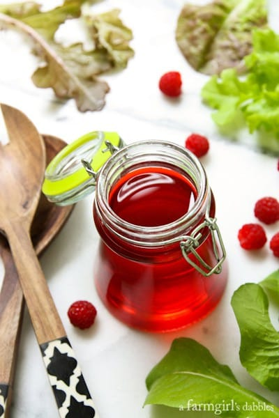 Homemade Raspberry Vinegar - afarmgirlsdabbles.com #raspberry #raspberryvinegar #salad #summer