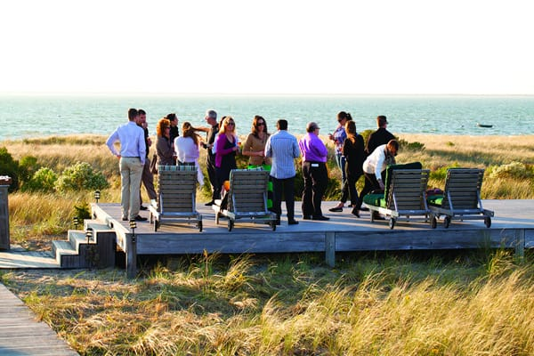 A Group of People on an Outdoor Deck