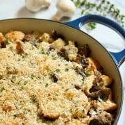 roasted garlic and mushroom dressing with sausage