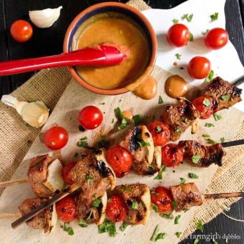 Grilled Sriracha Honey Mustard Beef Kebabs
