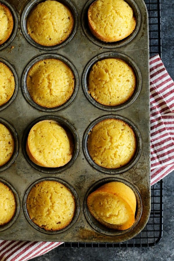 a pan of honey cornbread muffins