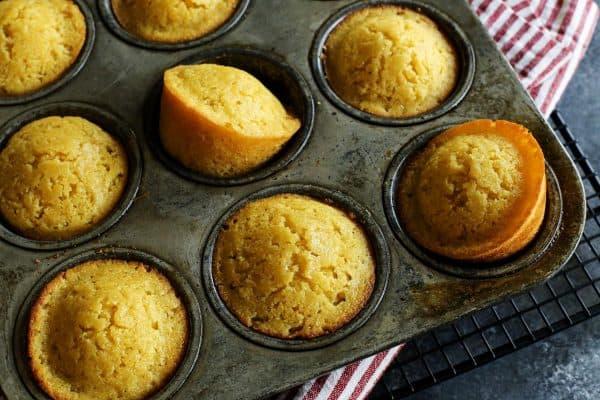 Honey Cornbread Muffins from afarmgirlsdabbles.com - cornbread muffins in muffin pan #cornbread #muffins #muffin #honey