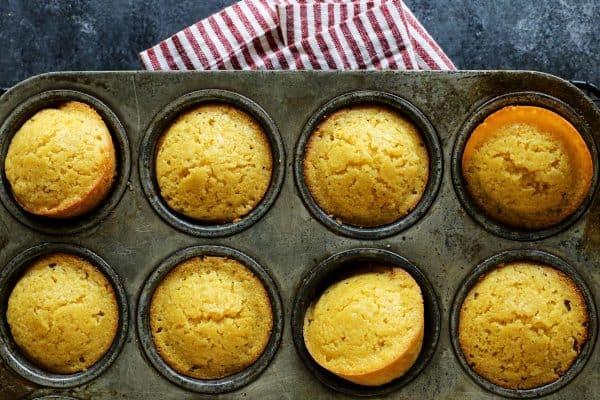 cornbread muffins in muffin pan