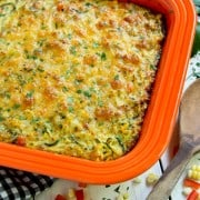 Top view of cheesy zucchini noodles bake in a casserole dish