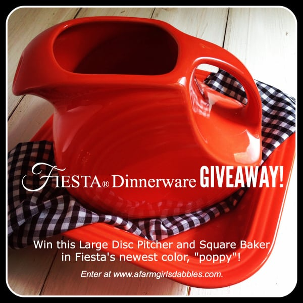 "Fiesta Dinnerware #Giveaway! Enter at afarmgirlsdabbles.com to WIN pieces in their newest ""poppy"" color! #fiestaware"