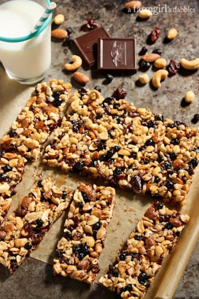 granola bars with fruits and nuts