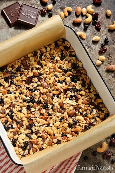 Nuts and Fruits Energy Bars in a square pan