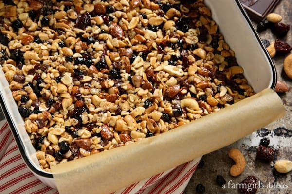 a pan of uncut granola bars