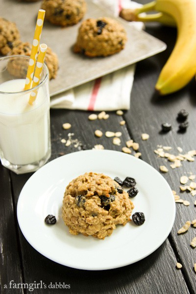 Banana Peanut Butter Breakfast Cookies with a glass of milk