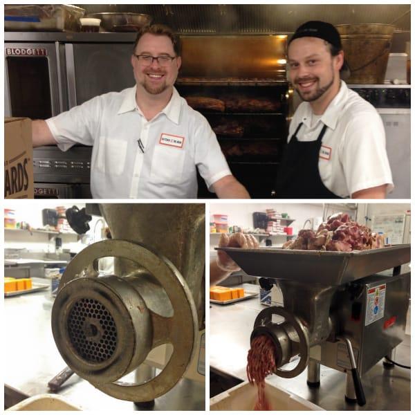 Butcher & the Boar, making #cheddarwurst with Chef Peter Botcher & Jeff - #PorkBucketList at afarmgirlsdabbles.com - #sausage #cheese #cheddar @farmgirlsdabble