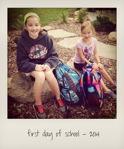 two girls on the first day of school in 2014