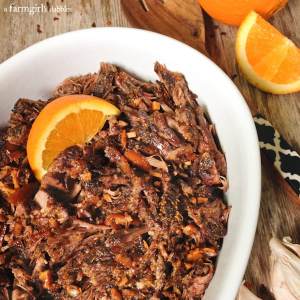 Slow Cooker Orange Balsamic Roast Beef - afarmgirlsdabbles.com #slowcooker #beef #slowNwholeCookbook