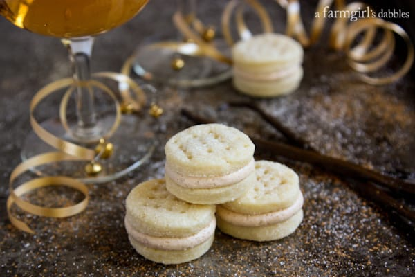 Cream Wafer Sandwich Cookies in a stack