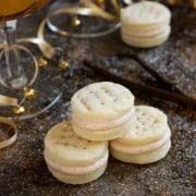 Round sandwich cookies with spiced buttercream filling