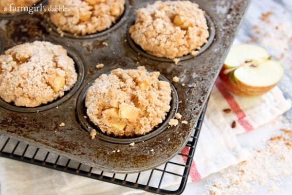 Apple Muffins with crumb topping on a cooling rack