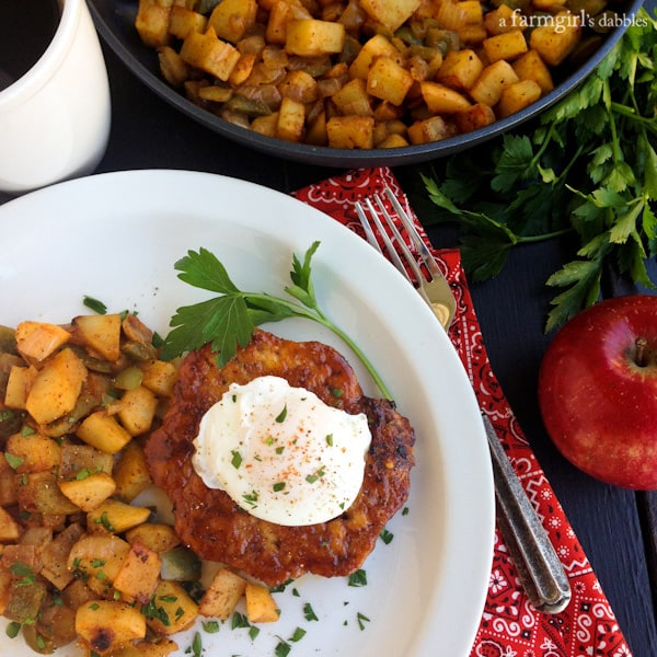 Spiced Maple Chicken Burgers with Sweet Potato and Apple Hash
