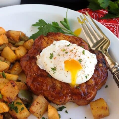spiced maple chicken burgers and potato hash