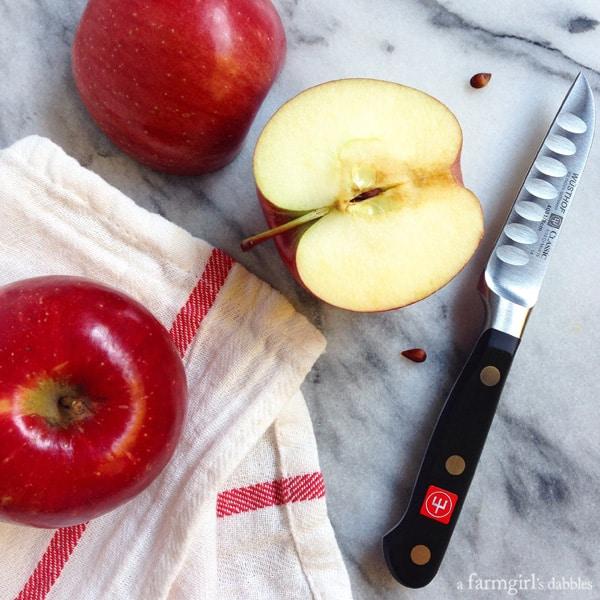 fresh apples sliced in half
