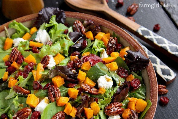 Harvest Salad with Butternut Squash, Maple Pecans, and Curry Fig Vinaigrette - afarmgirlsdabbles.com #salad