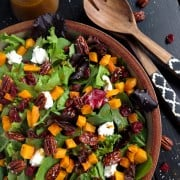 Harvest Salad with Butternut Squash, Curry Fig Vinaigrette, and