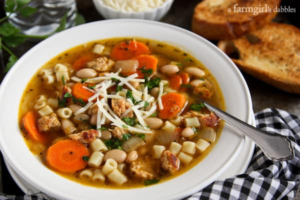 Italian Chicken Sausage Soup with White Beans - afarmgirlsda..