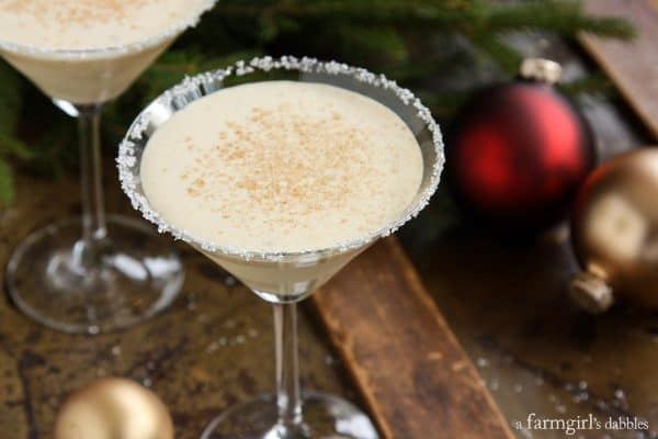 a martini glass of Eggnog Cocktail