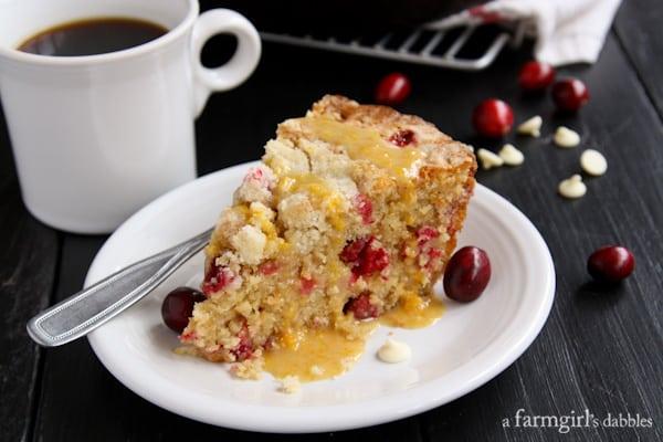 Cranberry Orange Skillet Cake with White Chocolate - afarmgirlsdabbles.com #cranberry #orange #skilletcake