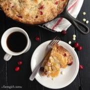 Cranberry Orange Skillet Cake with White Chocolate