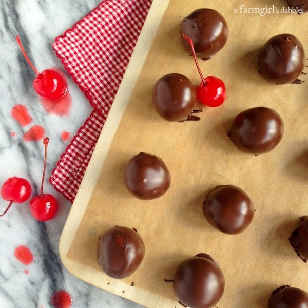 Chocolate Covered Cherry Cordials - afarmgirlsdabbles.com #chocolate #cherry #cordials #holiday #christmas #valentinesday