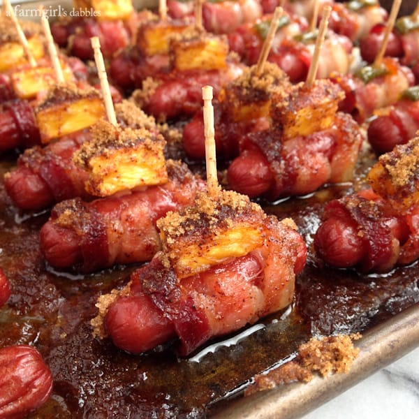 Bacon Wrapped Smokies {3 ways!} - afarmgirlsdabbles.com #appetizer # ...