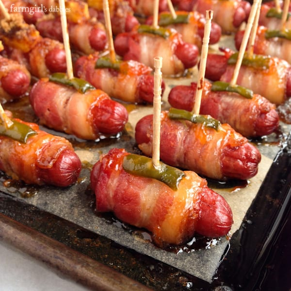 Bacon Wrapped Smokies {3 ways!} - afarmgirlsdabbles.com #appetizer #smokies #bacon