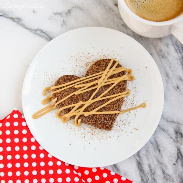 Fudgy Brownie Hearts with Espresso Glaze - afarmgirlsdabbles.com #brownies #chocolate #espresso #valentinesday