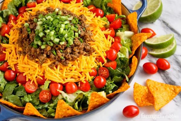 Taco Salad with Creamy Taco Dressing - afarmgirlsdabbles.com #taco #salad #dressing