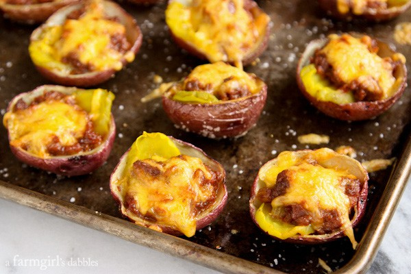 Sloppy Joe Baked Potato Skins with Smoked Cheddar - afarmgirlsdabbles.com #appetizer #potatoskins #potato #sloppyjoes #cheese