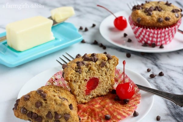 Banana Muffins with Chocolate on top and a Cherry in the middle