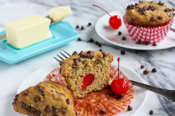 Whole Wheat Banana Muffins with Chocolate and Cherries from afarmgirlsdabbles.com