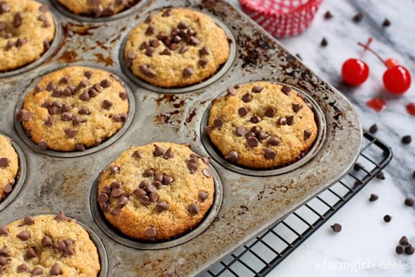 chocolate chip Banana Muffins in a pan