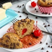 Whole Wheat Banana Muffins with Chocolate and Cherries