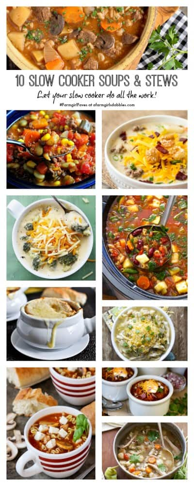 pinterest image of 10 Slow Cooker Soups and Stews