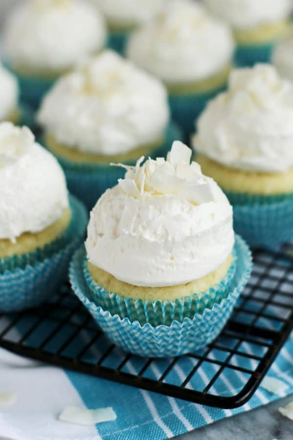 Coconut Cupcakes with Fluffy Coconut Buttercream