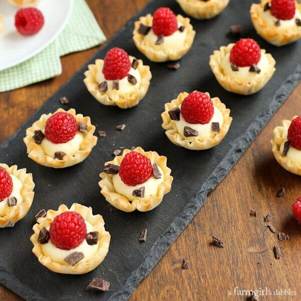 Mini Phyllo Cups with Coconut Cream, Raspberries, and Dark Chocolate