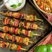 Grilled Charmoula Pork Kebabs with Yogurt Mint Sauce
