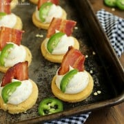 Jalapeno Corn Cakes with Honey Whipped Goat Cheese and Bacon